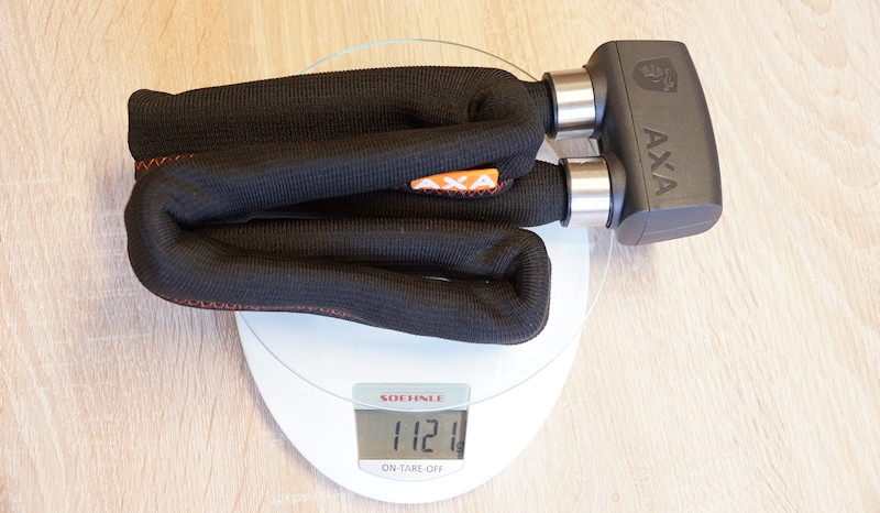 Axa Faltschloss auf Küchenwage - Gewicht