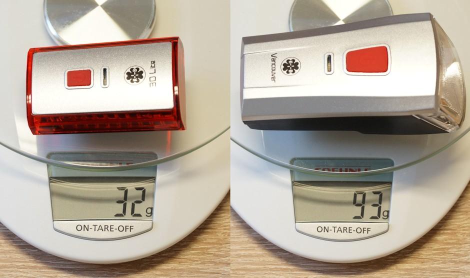 Büchel Vancouver Lampe auf einer Wage mit dem 3D Lite Rücklicht