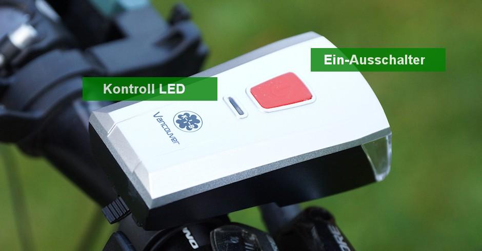 Schalter und Kontroll LEd gekennzeichnet an Büchel Fahrradscheinwerfer