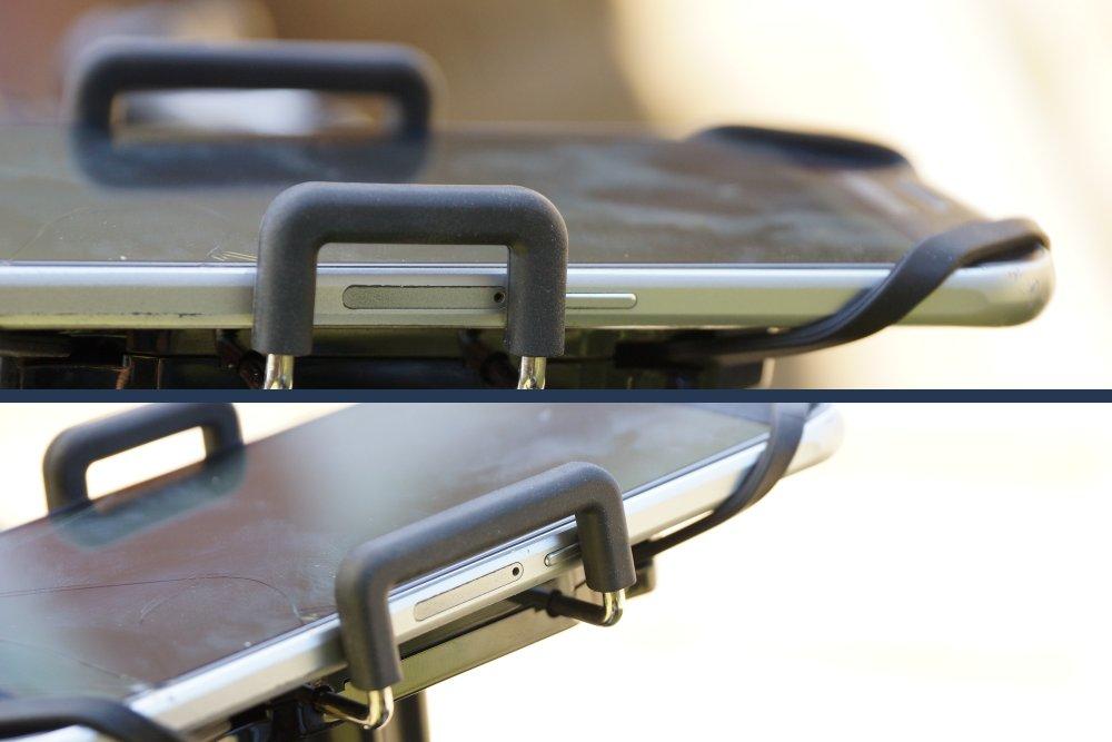 Seitenbügel drücken auf Power Knopf an Universal Bike Mount